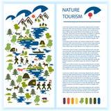 Disposição da brochura ou da propaganda do turista Imagens dos turistas, floresta, montanhas, lago, pesca, animais selvagens Turi Fotografia de Stock Royalty Free