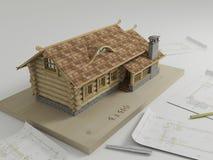 Disposição da tabela de uma casa de madeira pequena Fotografia de Stock Royalty Free