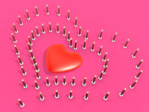 Disposição da vela do evento 3d como o coração Fotografia de Stock Royalty Free