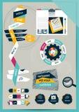 Disposição da Web do escritório do trabalho. Molde liso gráfico colorido. Imagem de Stock