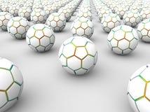 disposição das bolas de futebol 3D Fotografia de Stock Royalty Free