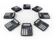 Disposição das calculadoras Fotografia de Stock