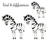 Disposição das crianças das diferenças do achado para a zebra do jogo Imagens de Stock