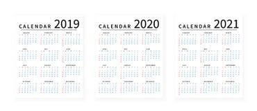 Disposição de calendário simples do modelo por 2019, 2020 e 2021 anos A semana parte de domingo ilustração stock
