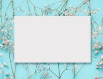 Disposição de cartão branca vazia em flores brancas pequenas no azul de turquesa imagem de stock