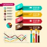 Disposição de Infographic de quatro etapas com elementos do projeto e símbolos de avaliação Infographics de papel com executivos  ilustração do vetor