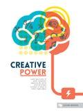 Disposição de projeto criativa do fundo do conceito da ideia do cérebro Imagens de Stock Royalty Free