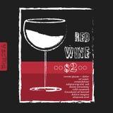 Disposição de projeto da carta de vinhos no quadro Vetor ilustração stock