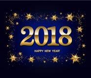 Disposição de projeto do ano novo feliz na obscuridade - fundo azul com o a 2018 Fotografia de Stock