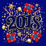 Disposição de projeto do ano novo feliz no fundo azul com 2018 Presente Imagem de Stock