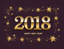 Disposição de projeto do ano novo feliz no fundo bege escuro com 2018 Imagem de Stock Royalty Free