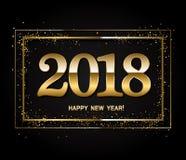 Disposição de projeto do ano novo feliz no fundo preto com 2018 e g Fotografia de Stock Royalty Free