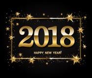 Disposição de projeto do ano novo feliz no fundo preto com 2018 e g Foto de Stock Royalty Free
