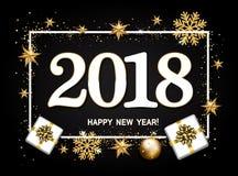 Disposição de projeto do ano novo feliz no fundo preto com 2018 Presente Fotos de Stock Royalty Free