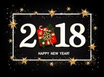 Disposição de projeto do ano novo feliz no fundo preto com 2018 Presente Imagem de Stock Royalty Free