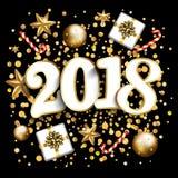 Disposição de projeto do ano novo feliz no fundo preto com 2018 Presente Fotografia de Stock