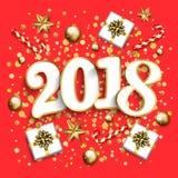 Disposição de projeto do ano novo feliz no fundo vermelho com 2018 Presente b Imagem de Stock