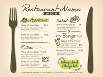Disposição de projeto do vetor do menu de Placemat do restaurante Fotos de Stock