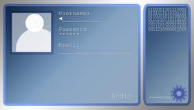 Disposição de tela azul do início de uma sessão com caixa do retrato ilustração royalty free