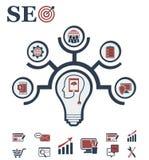 Disposição do conceito da ideia para SEO e desenvolvimento no formulário da lâmpada ilustração do vetor