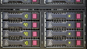 Disposição do disco rígido do diodo emissor de luz no servidor da cremalheira video estoque