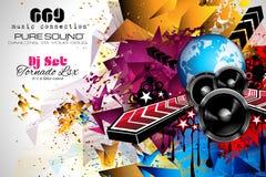Disposição do inseto do clube noturno do disco com elementos da forma e da música do DJ ilustração do vetor