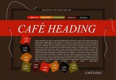 Disposição do molde do café do Web site com texto Fotos de Stock Royalty Free