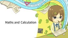 Disposição do molde do fundo da animação dos desenhos animados de um estudante da estudante que faz trabalhos de casa da matemáti ilustração do vetor