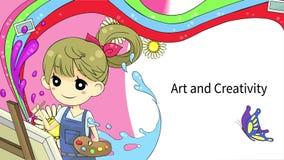 Disposição do molde do fundo da animação dos desenhos animados de uma arte finala da aquarela da pintura do artista da menina com ilustração do vetor