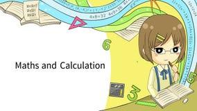 Disposição do molde do fundo da animação dos desenhos animados de uma estudante que aprende a matemática, a arte, e a ciência com ilustração stock