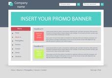Disposição do molde do negócio do Web site com texto Fotografia de Stock