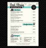 Disposição do molde do projeto do menu do café da manhã do restaurante
