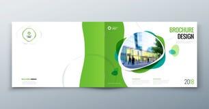 Disposição do molde do folheto, informe anual do projeto da tampa, compartimento, inseto ou brochura no A4 com formas geométricas ilustração stock