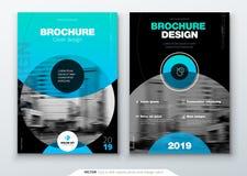 A disposição do molde do folheto, o informe anual do projeto da tampa, o compartimento, o inseto ou a brochura no A4 com círculo  ilustração stock