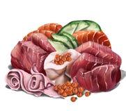 Disposição do Sashimi que inclui o atum e os salmões, com gengibre e o caviar conservados ilustração do vetor