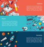 Disposição infographic do molde da bandeira da educação da ciência tal como phy Foto de Stock Royalty Free