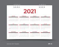 Disposição 2021, 12 meses do molde do calendário de calendário anual ajustado em 2021, fundo vermelho, inseto do folheto do n ilustração royalty free