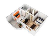 Disposição sem telhado 3d do apartamento da opinião de perspectiva do apartamento interior para render sem sombra ilustração stock