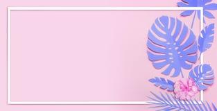 Disposição tropical roxa das folhas Quadro branco nas folhas tropicais de papel com as flores no fundo cor-de-rosa Composição imagens de stock