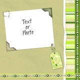 Disposição verde do scrapbook imagem de stock