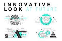 Disposições de sistemas na moda da inovação na linha de contorno poligonal comp(s) Imagens de Stock