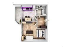 Disposi??o sem telhado 3d do apartamento da opini?o superior do apartamento interior para render ilustração stock