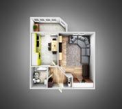 Disposi??o sem telhado do apartamento da opini?o superior do apartamento interior no fundo cinzento 3d do inclina??o para render ilustração stock