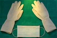Disposible bezpłodna guma, jeden czas używać rękawiczki z chirurg maską obrazy stock