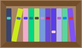 Disposición colorida plana del estante del vector Fotografía de archivo libre de regalías