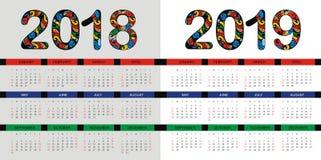Disposición de calendario por 2018 y 2019 años de diseño del vector Imagen de archivo