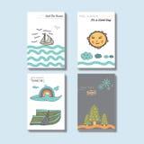 Disposición de diseño única simple preciosa de la cubierta de la postal de Handrawn Imagen de archivo