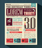 Disposición de diseño de tarjeta del partido del feliz cumpleaños en estilo del periódico Foto de archivo libre de regalías
