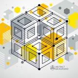 Disposición de diseño del amarillo de la plantilla 3D para el folleto, aviador, cartel, Imagenes de archivo