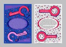 Disposición de diseño del folleto con el fondo del modelo del estilo de Memphis Fotografía de archivo libre de regalías